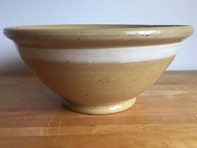 "LARGE 13.75"" Antique White Banded Yellow Ware Stoneware Kitchen Mixing Bowl"
