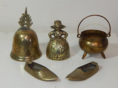 Collection of vintage brass items Dutch bell Indian shoes mini cauldron & bell