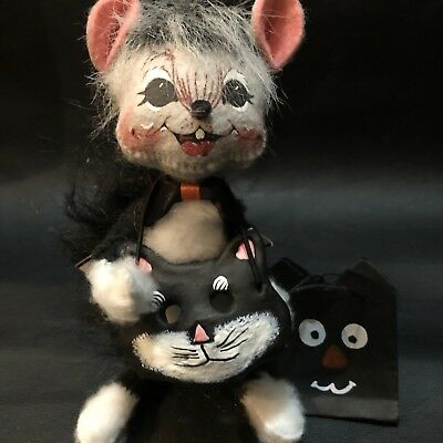 """Annalee Mobilitee Doll Halloween 6"""" Trick Or Treat Cat Mouse"""