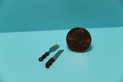 Dollhouse Miniature Kitchen Carving Knife and Fork Set ~ S3009