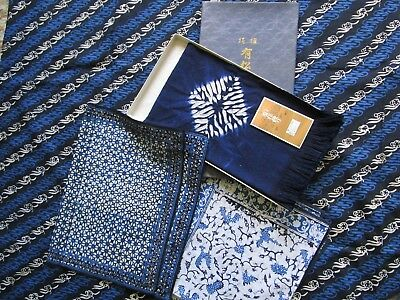 Blue White Cotton Vintage Batik Fabric Mix Lot Table decor Japanese resist cloth