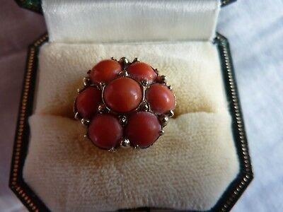 Vintage Gold And Coral Halo Ring German Art Deco