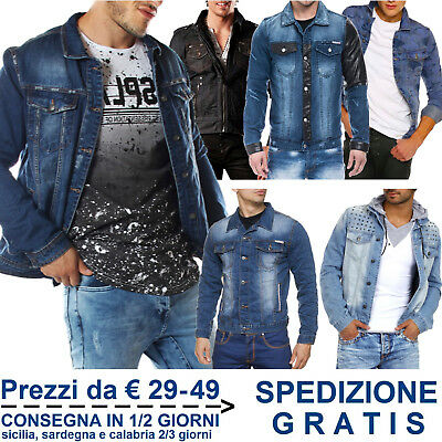 Giacca Jeans da Uomo Fashion Giubbino in Cotone Denim per Moda Slim Fit Casual