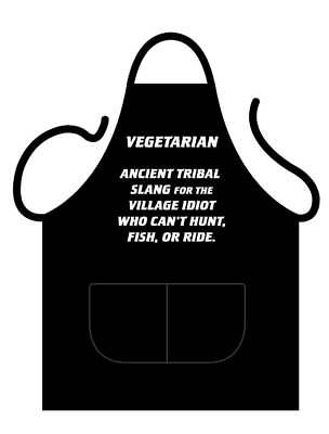 Black Novelty Apron, Printed With Definition Of A Vegetarian
