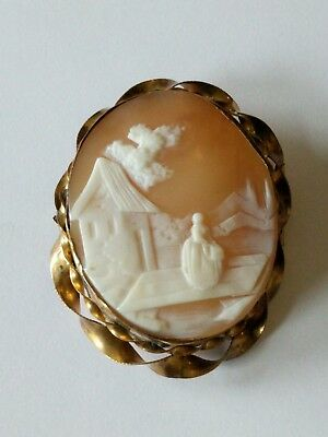 Antique Victorian Gold Filled Carved Shell Scenic Cameo Pin Brooch