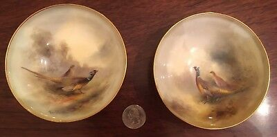 Vintage Stunning Pair Royal Worcester Hand Painted Pheasant Dishes By J Stintson