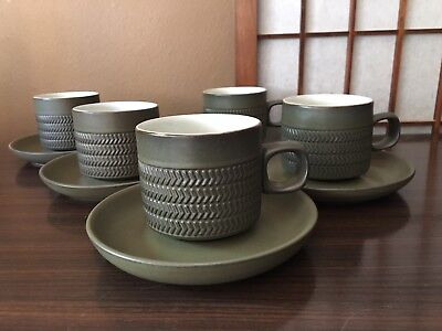 5 Denby Langley Camelot Green Camelot Cups And Saucers