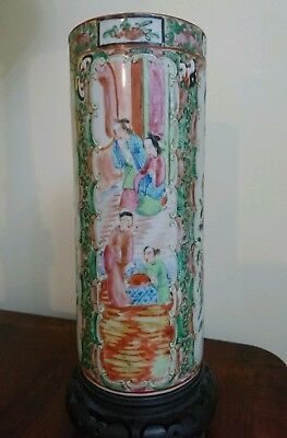 Antique Chinese Canton Porcelain Famille Rose Mandarin Vase 19th C