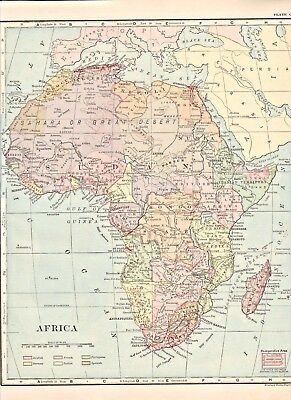 """Original 1895 Color Map, AFRICA CONTINENT, KONGO, 9.5"""" x 11.5"""", Frye's Geography"""