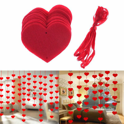 16x Valentine Day Wedding Red Heart String Garland Party Decor Hanging Pennant
