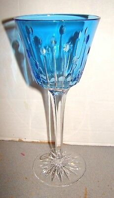 Hungarian Glass Blue Cut To Clear Wine Goblet