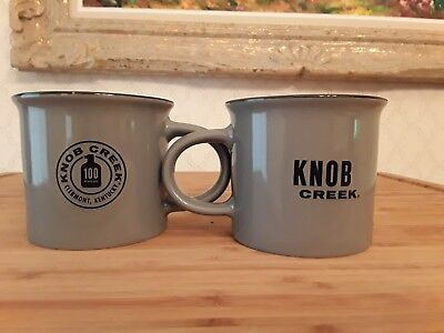 Knob Creek Bourbon Ceramic Rustic Camping Mugs NEW Pair