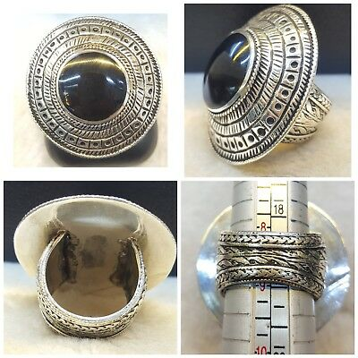 Beautiful Vintage Old Silver Stunning Ring With Lovely Black Agate Stone  # 8 BS