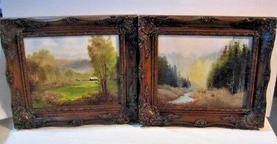 "Pair of Original Oil Paintings - 13"" Frames - 9.5"" x 7.5"" Wooded Country Scenes"