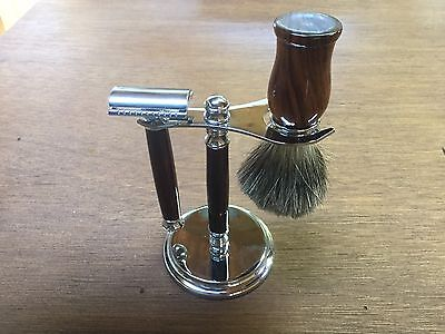 Shaving Set: Hand Turned Razor Handle with Badger Hair Brush and Stand