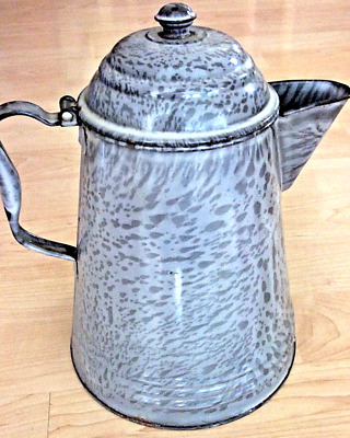 "Antique 11.5"" GRAY ENAMEL Pattern METAL Strainer Spout HINGED LID Handle PITCHER"