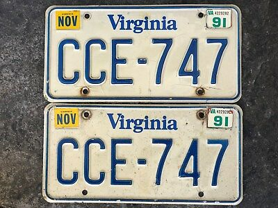 1991 Pair of Virginia License Plates #CCE-747 SAME DAY SHIPPING