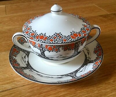 Crown Ducal Orange Tree Art Deco Very Rare Small Size Round Handled Lidded Soup