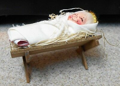 Annalee Christmas Ornament Baby Jesus In Manger Tagged