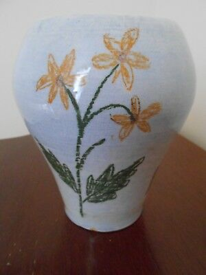 Old handpainted pottery vase/pot -antique/vintage? initials on base