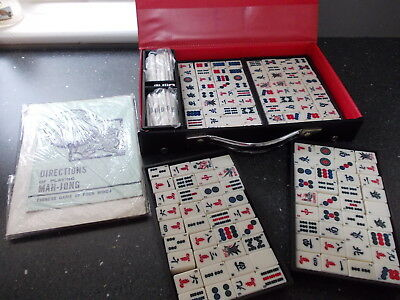 Vintage Chinese Mahjong Set - 144 x Tiles ( Bamboo Backed)  Cased  With Book