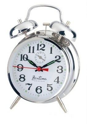 Acctim Traditional Classic Saxon Wind Up Double Bell Alarm Clock - Chrome New