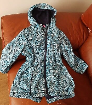 DEBENHAMS 'Pineapple' Girls Waterproof Turquoise Raincoat - Age 5