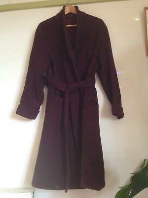 """AUSTIN REED Mens 100% Lambs Wool Black Red Check Dressing Gown Robe. Belt. M 42"""""""