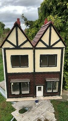 Beautiful Antique Vintage Hand Made Wooden Black & White Dolls House *
