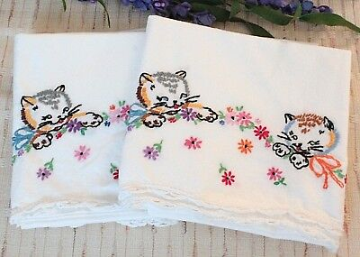 Vintage Embroidered Pillowcases Kittens Cats Flowers White Crochet Trim
