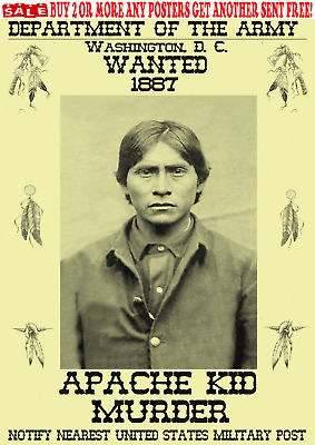 Old West Wanted Posters Apache Outlaw Army Reward Indian Crazy Sioux Chief