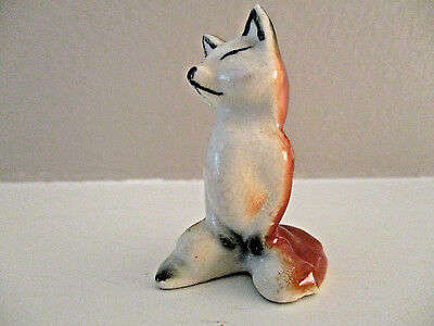 Vintage Miniature Red Fox Statue Figurine 2 Tall Porcelain An Fairy Garden