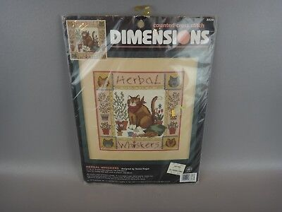 "NEW Dimensions HERBAL WHISKERS Counted Cross Stitch  Kit ~CATS~ 11"" X 11"""