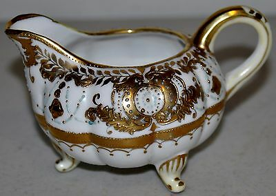 Antique Nippon Creamer Hand Painted 24 KT Gold Trim Footed