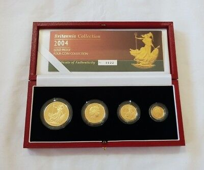 Royal Mint 2004 Britannia Gold Proof Four-Coin Collection Cert No.22