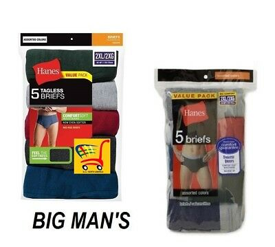 Hanes Big Man's Tagless ComfortSoft Cotton Briefs in 2X or 3X (5-Pack)