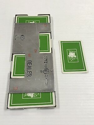 Vintage Bridge Casino Dealer Metal Shoe With All 52 Cards Green King Ships Fast!