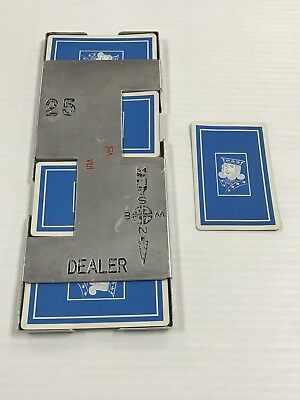 Vintage Bridge Casino Dealer Metal Shoe With All 52 Cards Blue King Ships Fast!