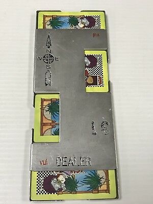 Vintage Bridge Casino Dealer Metal Shoe With All 52 Cards Ships Immediately!