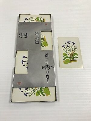 Vintage Bridge Casino Dealer Metal Shoe With All 52 Cards Flowers Ships Fast!