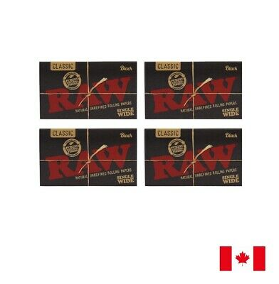 RAW Classic Black Single Wide Rolling Papers (Double Window) 4 Packs