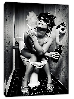 Girl In Toilet Drinking And Smoking Picture Print On Framed Canvas Wall Art
