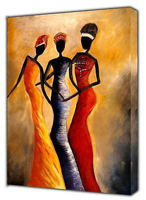 AFRICAN QUEENS ABSTRACT PAINT PICTURE PRINT ON FRAMED CANVAS WALLART DecoratioN