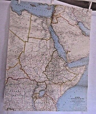1963 National Geographic Map - Africa - Countries of the Nile - 19 x 24 inches