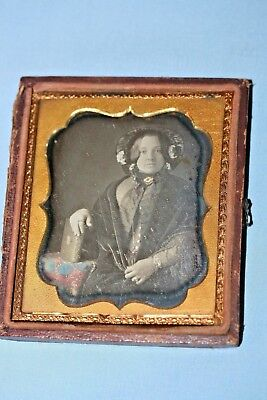 Half Case 1/6 Plate Daguerreotype Young Woman w Fancy Dress Holding Poetry Book