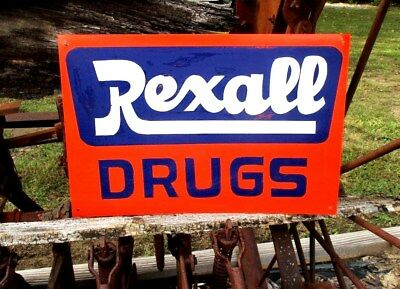 Vintage REXALL DRUGS Store Sign Advertisement Pharmacy Prescription  Metal 12x18