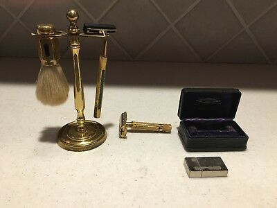 Vintage Brass Shaving Set With Stand and Blades and Extra Shaver
