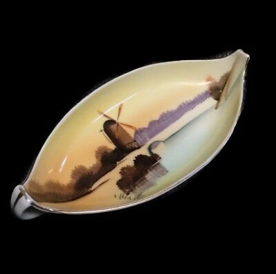 Rare Vintage Meito China Hand Painted Windmill Unusual Shaped Dish Made In Japan