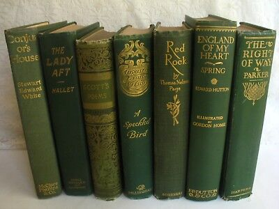 Antique Books Decorative Victorian Gilt Library 1800's - 1900's Green Lot of 7