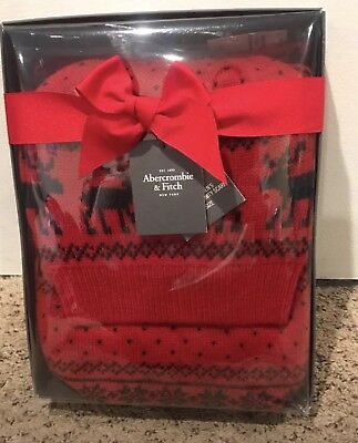 Bnwt-Women's Abercrombie & Fitch Knit Hat & Eternity Scarf Gift Set-Red-O/s